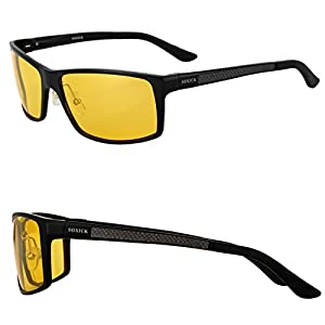 Night Driving Glasses Anti Glare Polarized HD Lenses for Night Safety Glasses (Black-1, yellow)
