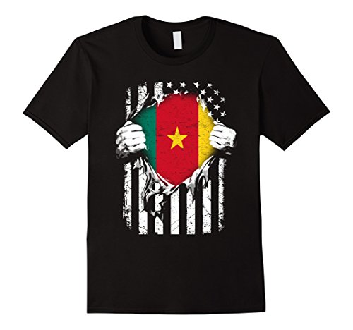 Mens Super CAMEROON Hearts American Patriot Flag CAMEROON TShirt XL Black