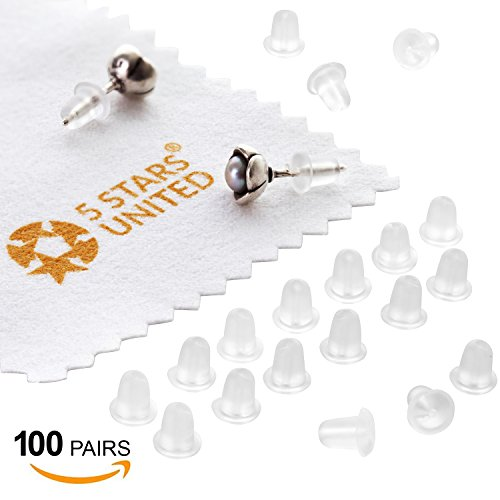 Earring Backs Rubber Secure Backings - Replacements, 100 Pairs - Soft Clear Silicone Stoppers - Fit Fish Hook Posts - Extra Safety - Perfect for Jewelry Making (Fitting Head and Eye Pins)