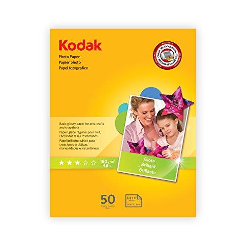 "Kodak Photo Paper for inkjet printers, Gloss Finish, 7 mil thickness, 50 Sheets, 8.5"" x 11"" (1213712) -"