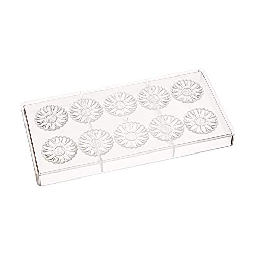 Fat Daddio's PCM-1731 Polycarbonate Daisy Flower Candy & Chocolate Mold, 11 x 5.25 Inch, Translucent