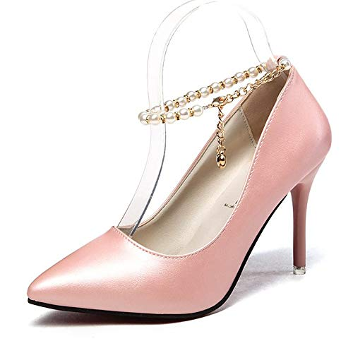 Imitation Pink ZHZNVX Summer Pearl Shoes Black Basic PU Women's White Pointed Toe Stiletto Heels Polyurethane Heel Black Pump xWx74HwSn