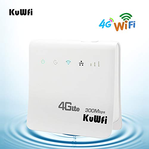 KuWFi 4G WiFi Router Unlocked 300Mbps 4G LTE CPE Mobile WiFi Wireless Router for SIM Card Slot with LAN Port Support Caribbean,Europe,Asia, Middle East & Africa Network 32 WiFi -