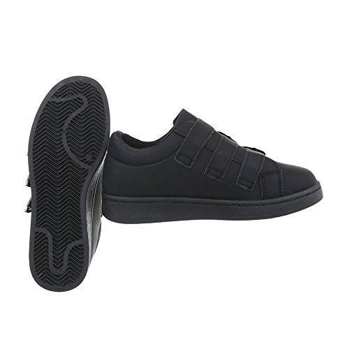 Ital-Design Sneakers Low Damenschuhe Schnalle Freizeitschuhe Schwarz A-69-1