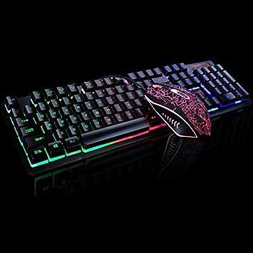 Triamisu Juego Luminoso con Cable USB Mouse Keyboard Suit con ...