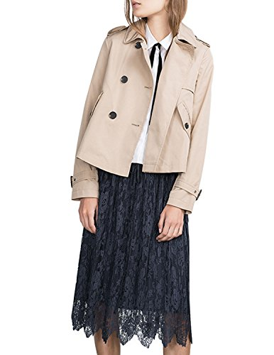 Haoduoyi Womens Boyfriend British Classic Long Sleeve Trench Coat (XXL, Camel)