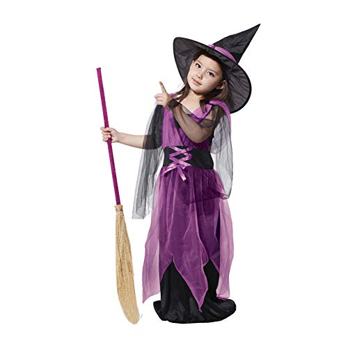 Yaxuan Spellbound Witch Costume, Kids Fancy Dress Up, Girls Halloween Magic Fancy Dress Up Party Costume & -