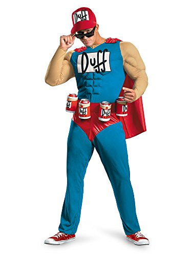 Disguise Unisex Adult Classic Muscle Duffman, Multi, X-Large (42-46) Costume -