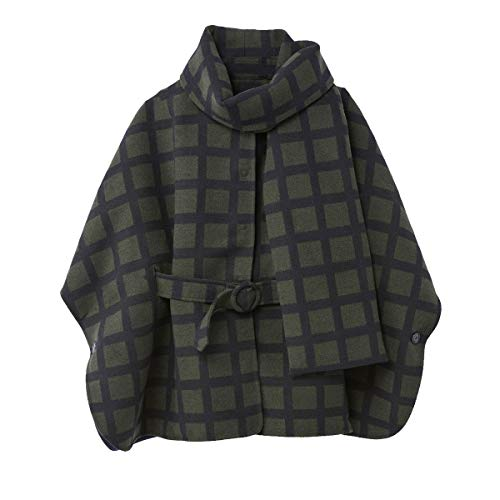 La Redoute Collections Womens Checked Cape with Belt Green Size US 6 - FR 36 from La Redoute