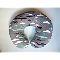 Minky Nursing Pillow Cover. AIRPLANE PRINT Cuddle. You choose the Dimple Dot back. Back is pictured in Turquoise Dimple Dot.