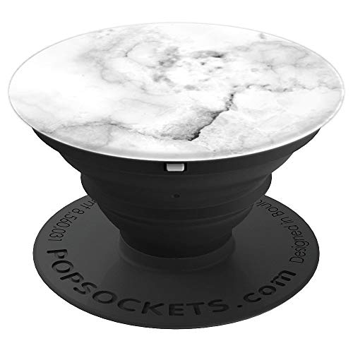 Simple Cute White Gray Abstract Pattern Faux Granite Marble - PopSockets Grip and Stand for Phones and Tablets