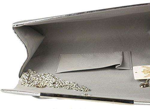 Girly Bag Clutch Shimmer Handbags Grey waUpqfwz