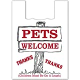 Plasticplace Large Plastic Shopping Bags - White,''Pets Welcome'', 19x23, 1000/Case