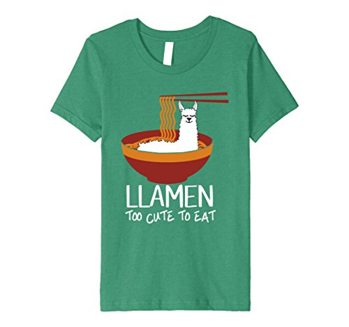 Price comparison product image Kids Too Cute To Eat Llamen Funny Llama Ramen T Shirt 12 Kelly Green