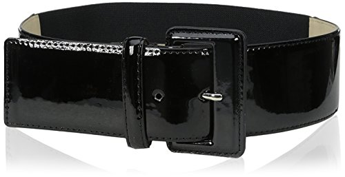 [Big Buddha Women's Patent Stretch Belt, Black, Small/Medium] (Stretch Patent Buckle Belt)