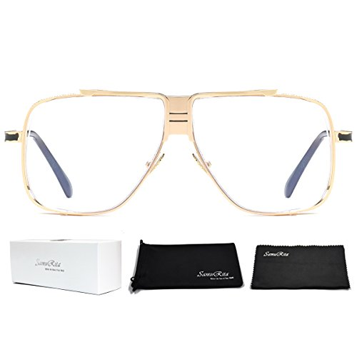 SamuRita Metal Celebrity Flat Top Aviator Sunglasses Oversized Designer Shades(Clear Lens/Gold - Men For Sunglasses Hip