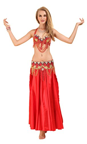 GUILTY BEAUTY Satin Belly Dance Costume,Bra Belt Skirt 3pcs Outfit,5 Colors, Red, S - Arabic Dance Costumes Children