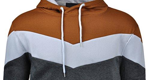Mooncolour Mens Novelty Color Block Hoodies Cozy Sport Autumn Outwear, Dark Grey, US Medium
