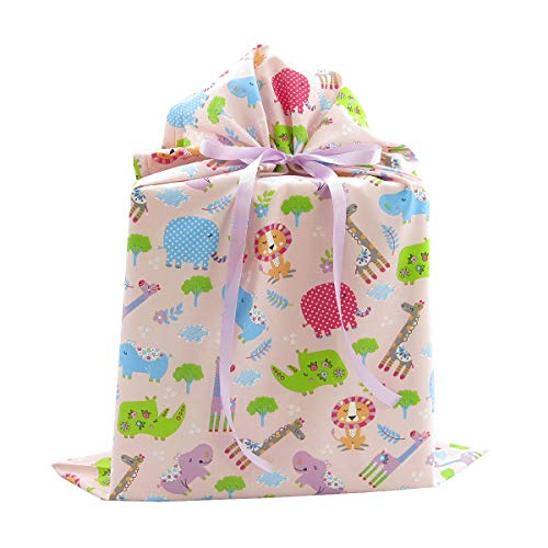 Jungle Animals Reusable Fabric Gift Bag for Baby Shower or Child's Birthday (Large 20 Inches Wide by 27 Inches High, Pink)