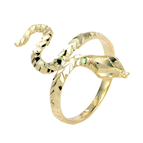 High Polish 10k Yellow Gold Band Infinity Water Sea Snake Head Ring (Size 11)
