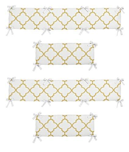 Sweet JoJo Designs Modern White and Gold Trellis Lattice Girls Baby Bedding Set Collection Crib (Polka Dot Crib Bumper)