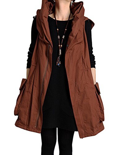 Mordenmiss+Women%27s+Sleeveless+Coat+Big+Pockets+Waistcoat+Travel+Hoodie+Vest+%28XXL%2C+Style+1-Rusty+Red%29