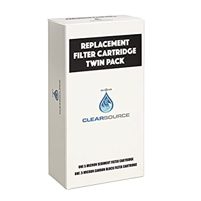 Clearsource Replacement Water Filter Cartridge Twin Pack with 5 Micron Sediment Filter and .5 Micron Carbon Block Filter: Sports & Outdoors
