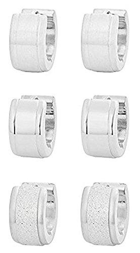 icewave-stainless-steel-small-hoop-huggie-earrings-silver-tone-triple-set-mens-womens-three-pairs