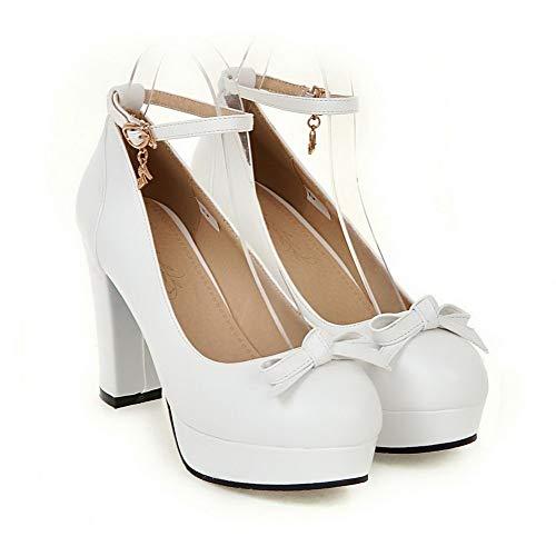 Womens Bows BalaMasa Urethane Platform Pumps Dress APL10511 White Shoes g5qwxqdR