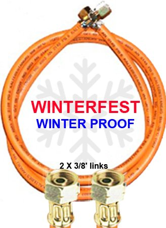 'Tubo per Gas Propano Winter Fest 2X 3/8SX (per filettare esterno di massa con circa 15–16mm)–Resistente alle basse temperature fino a -30°c–con stampa 2017 TGO