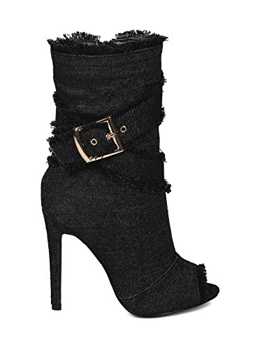 Alrisco Women Denim Peep Toe Frayed Stiletto Ankle Boot HC44 - Black/Denim (Size: 8.5) by Alrisco (Image #1)
