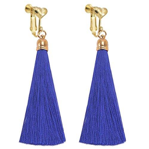 Bohemian Blue Silk Fringe Thread Clip on Earrings Heart Clips Long Tassel Dangle Wedding Prom Earring ()