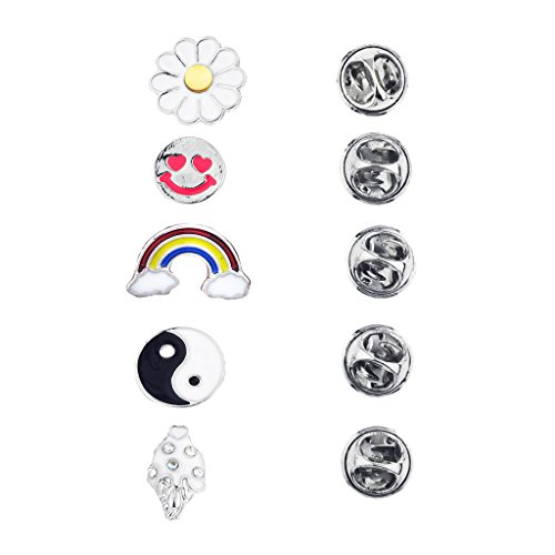 Lux Accessories Silvertone Novelty Emoji yin Yang Rainbow Brooch Pin Set (5PCS) from Lux Accessories