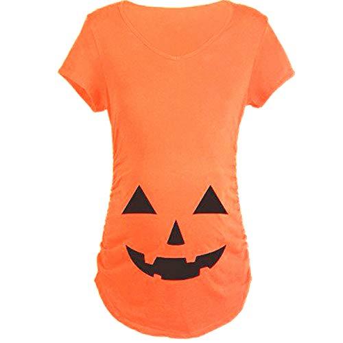 ShiyiUP Pregnancy Halloween Shirts Funny Pregnant T Shirts Cute Pumpkin -