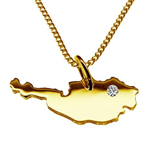 Endroit Exclusif Autriche Carte Pendentif avec brillant à votre Désir (Position au choix.)-avec Chaîne-massif Or jaune de 585or, artisanat Allemande-585de bijoux