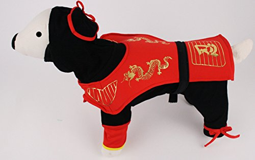 Ninja Dog Halloween Costumes (Dragon Ninja Warrior Deluxe Costume for Dogs by Puppe Love (Size 5 (14