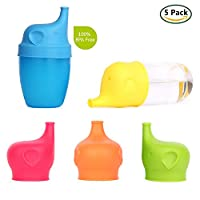 GoLine 5-Pack Silicone Sippy Cup Lids, Make Any Cup Spill-Proof Training Cup for Babies, Toddlers and Kids, High Compatibility, FDA Approved, BPA-Free, Blue/Green/Orange/Red/Yellow.(GL-CL005)
