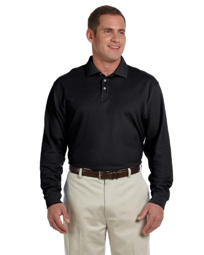 Pima Cotton Pique Polo Shirt (Devon & Jones Men's Pima Piqué Long-Sleeve Polo, Large, BLACK)