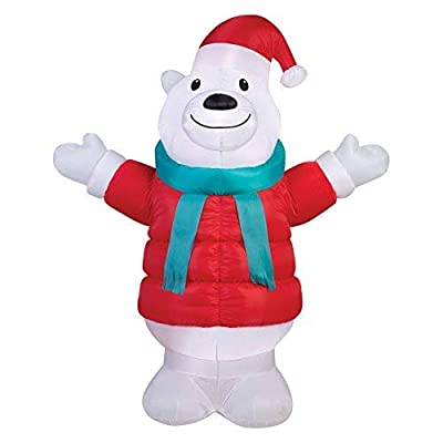 Gemmy 39159 Airblown Puffy Parka Polar Bear Christmas Inflatable 7FT TALL