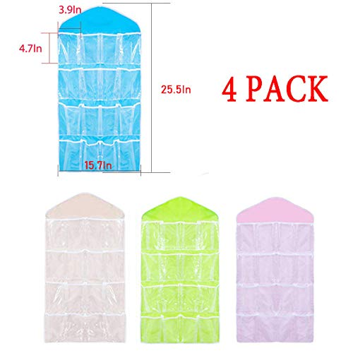 Csdtylh 16 Pockets Clear Over Door/Wardrobe Hanging Bag Shoe Rack Hanger Underwear Bra Socks Closet Storage Organizer- 4 pcs ()