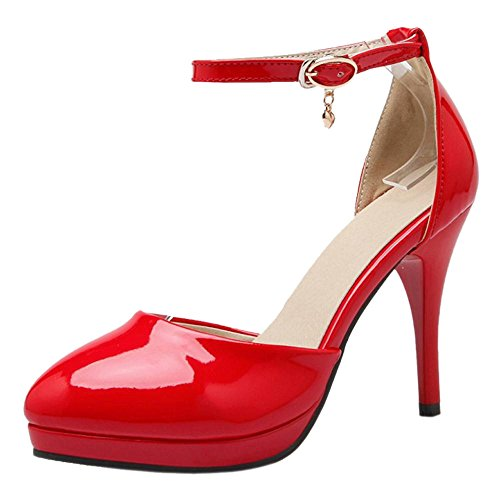 Asian Strap Red Sandals Size Women's Ankle Stiletto TAOFFEN Fashion 34 Shoes D'orsay T7wP6H