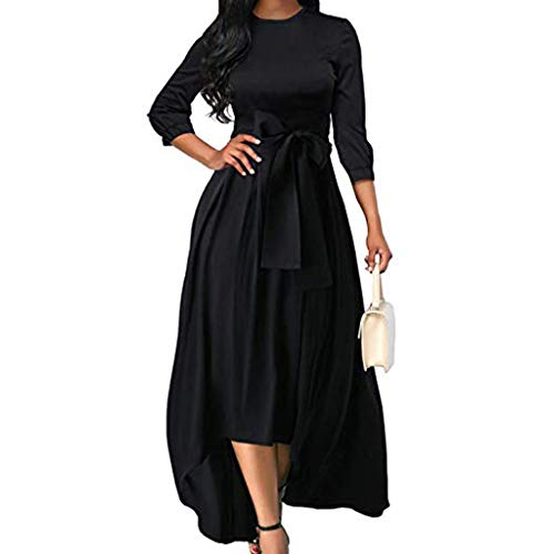 2019 Women High Low Maxi Dress,Ladies Three Quarter Sleeve Belt Flowy Homecoming Cocktail Costume (XL, Black)