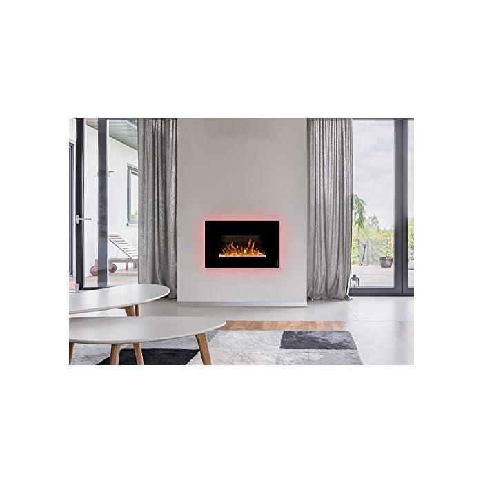 41ttFi4p%2BaL ¿Sin chimenea? No hay problema de ambiente acogedor y agradable calor para cualquier habitación. Consumo de energía de solo 20 W en modo llama gracias a la tecnología LED de bajo consumo. 0,9 kW o 1,7 kW de potencia de calefacción mediante un ventilador de convección conmutable.