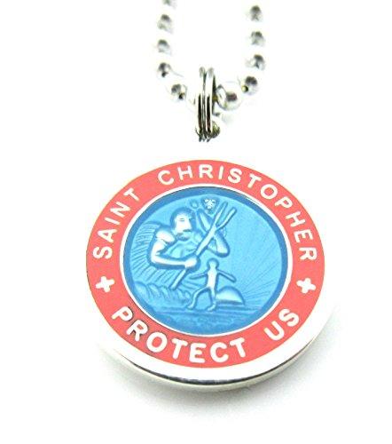 Saint Christopher Surf Medal Pendant Necklace,Baby Blue/Pink (BB/PI) Medium by Get Back Designs (Image #3)