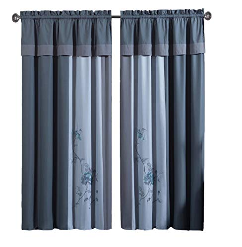 Chezmoi Collection 4-Piece Embroidered Floral Window Curtain