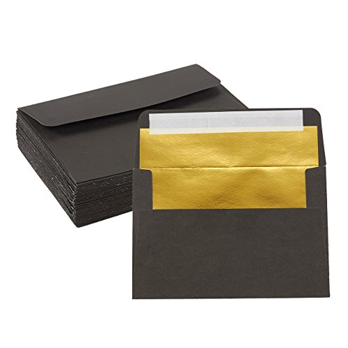 Fold Letter Envelope - 50-Pack A4 Envelopes - 4.25 x 6.25 Inches Square Flap Envelopes - Photo Envelopes - Invitation Envelopes for Wedding Invitations - 120gsm, Black Outside, Gold Inside