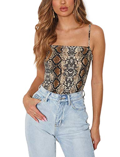 Queen.M Women's Sexy Bodysuit Leopard Spaghetti Strap Cami Leotard Top Sleeveless Bodycon Jumpsuit Onesie Romper (Snake Skin, XL)