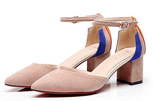 Chunky Easemax Elégant Escarpins Pointue Chaussure Rose Femme Moyen Talon rYTqrCw