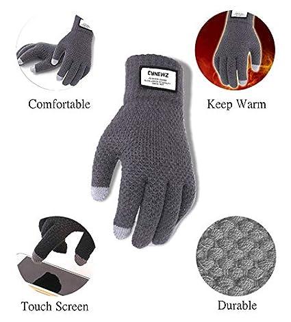 Erovy Winter Autumn Men Knitted Gloves Touch Screen Male Thicken Warm Wool Cashmere Solid Gloves Men Mitten Business Black