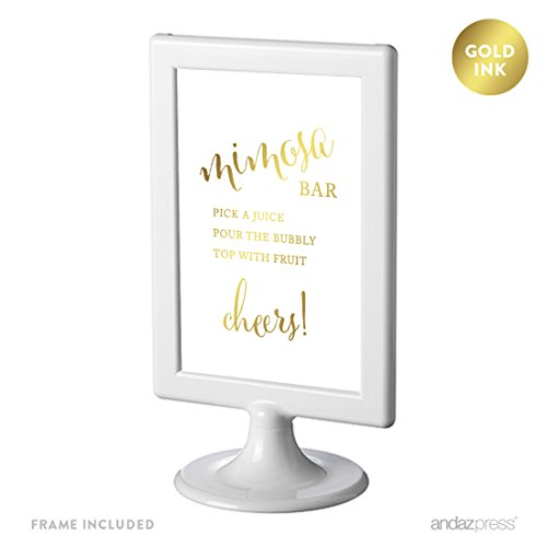 Andaz Press Framed Wedding Party Signs, Metallic Gold Ink Print, 4x6-inch, Build Your Own Mimosa Sign Pick a Juice, Pour the Bubbly Champagne, Cheers! Table Sign, 1-Pack, Includes Frame